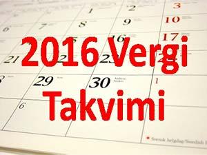 2016 Şubat Vergi Takvimi