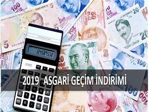 2019 YILI ASGARİ GEÇİM İNDİRİMİ TUTARLARI