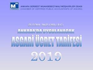 ANKARA SMMM ODASI  2019 ÜCRET TARİFESİ