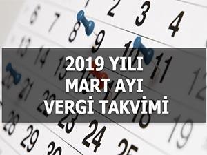 2019 MART AYI VERGİ TAKVİMİ