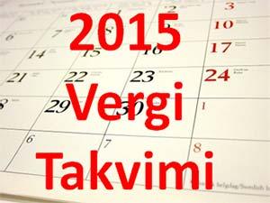 KASIM - 2015 YILI VERGİ TAKVİMİ