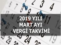 2019 MART AYI VERGİ TAKVİMİ